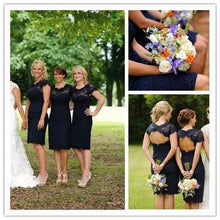 Load image into Gallery viewer, Lace Short Open Back Cheap Navy Blue Cap Sleeve Mermaid Bridesmaid Dresses RS122