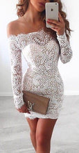 Load image into Gallery viewer, White Lace Bodice Off shoulder Long Sleeves Mermaid Homecoming Dress