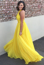 Load image into Gallery viewer, Princess Chiffon A-line Halter Long Yellow Backless Sleeveless Prom Dresses RS423