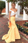 Two Piece Off-the-Shoulder White and Yellow Zipper V-Neck Mermaid Long Prom Dresses RS63