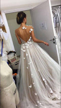 Load image into Gallery viewer, A Line Gray Tulle Open Back Butterfly Sleeveless Long Party Dresses Prom Dresses RS10