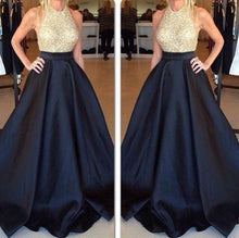 Load image into Gallery viewer, New Arrival Crew Neck Gold Sequins Black Satin Backless Sleeveless Prom Dresses RS440