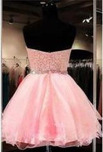 Load image into Gallery viewer, 2019 Lace Short Blush Pink Strapless Sweetheart Sweet 16 Dress Homecoming Dresses H28