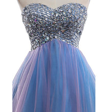 Load image into Gallery viewer, Strapless Cute Tulle Short Sweetheart Beading Blue Rhinestone Homecoming Dresses RS190