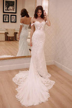 Load image into Gallery viewer, Sheath Off-the-Shoulder White Mermaid Chiffon Lace Appliques Beach Wedding Dresses RS328