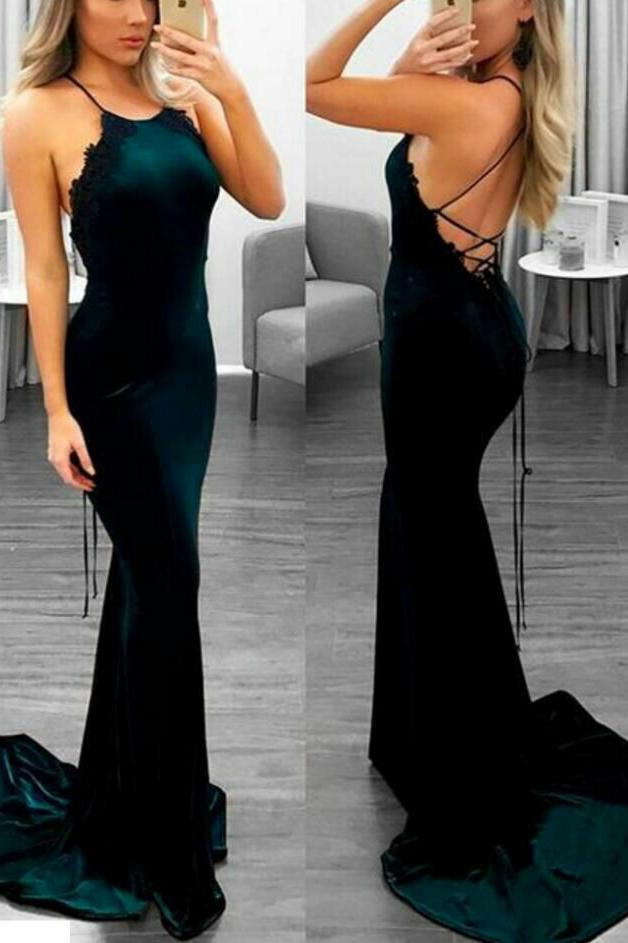 Sexy Backless Dark Green Mermaid Spaghetti Straps Sleeveless Custom Cheap Prom Dresses RS478