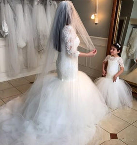 Long Short Sleeves Mermaid Lace Appliques Tulle Flower Girl Dress Wedding Party Dress RS119