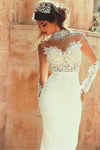 Long Sleeve Mermaid High Neck Lace Appliques Open Back Ivory Long Wedding Dresses RS145