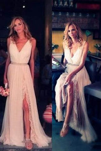 V Neck Off the Shoulder Ivory Lace Chiffon Front Split White Beach Cheap Wedding Dresses RS878