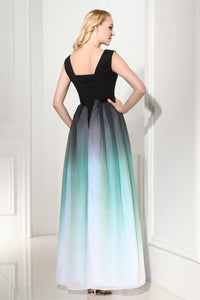 A-Line Ombre Long Chiffon Formal Dress V-Neck Black Sleeveless Lace up Prom Dresses RS371
