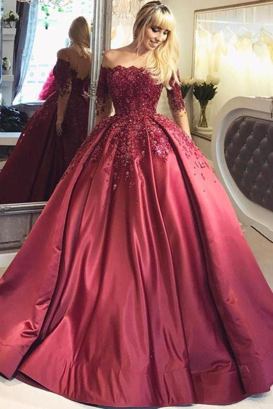 2019 Dark Red Lace Long Sleeve Prom Dress Off-the-Shoulder Ball Gown Quinceanera Dress RS392