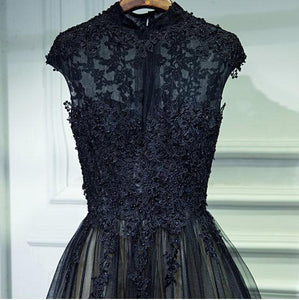 Vintage A Line Chic Long Black Lace Cap Sleeves High Neck Beads Appliques Prom Dresses RS76