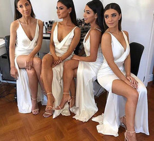 Sexy Mermaid Ivory V Neck Split Long Bridesmaid Dresses Sleeveless Prom Dresses RS918