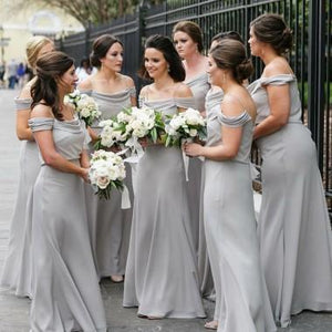 A Line Off the Shoulder Grey Chiffon Cheap Long Prom Dresses Bridesmaid Dresses RS262