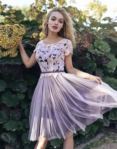 Short Sleeves Scoop Lace Homecoming Dresses A line Cheap Pink Short Prom Dresses RS930