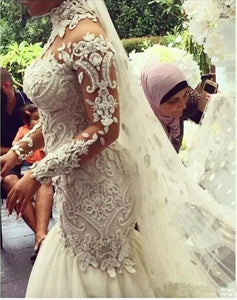 Luxury Crystal Beaded Appliques Mermaid High Neck Long Sleeves Wedding Gowns RS234