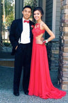 Elegant A Line Chiffon Open Back Halter Slit Red Long Cheap Prom Dresses RS58