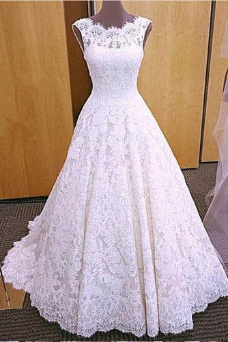 Chic Romantic Open Back A line Short Train Lace Ivory Long Wedding Dresses RS149
