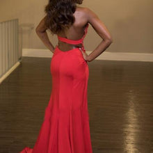 Load image into Gallery viewer, Red chiffon lace halter long slit dress evening dress for prom RS158