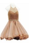 Modest Halter Short Beaded Tulle Cute Mini Homecoming Dresses RS96