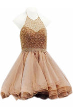 Load image into Gallery viewer, Modest Halter Short Beaded Tulle Cute Mini Homecoming Dresses RS96