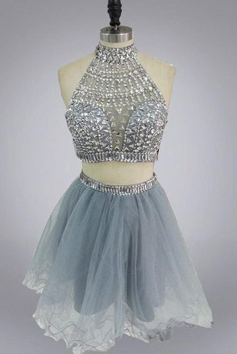 Halter High Neck Beaded Bodice Two Piece Fall Gary Tulle Open Back Homecoming Dress