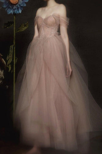 Off Shoulder Long Evening Dress A Line Tulle Prom Gown