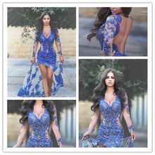 Load image into Gallery viewer, Royal Blue with Long Sleeves Lace Applique Sheer Split V-Neck Backless Sexy Prom Dresses RS48