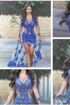Royal Blue with Long Sleeves Lace Applique Sheer Split V-Neck Backless Sexy Prom Dresses RS48