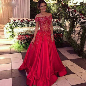 Off the Shoulder Beads Sequins Stretch Satin Cheap Long Red A-line Prom Dresses RS302