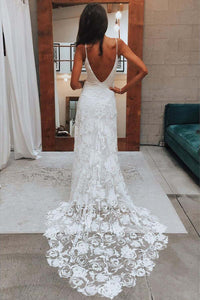 Rose Lace Sweetheart Boho Wedding Dresses Spaghetti Strap Beach Wedding Dresses RS381