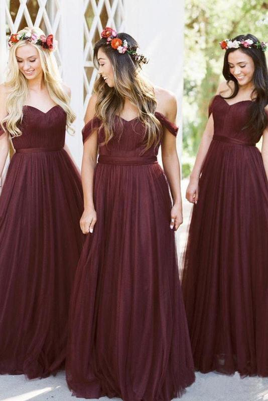 New Style A Line Tulle Sweetheart Off the Shoulder Long Ruffles Bridesmaid Dresses RS286