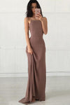 Open Back Chiffon Spaghetti Straps Criss Cross Spandex Mermaid Long Prom Dresses RS51