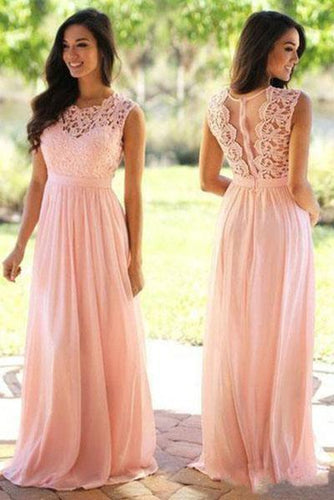 Affordable A-line Scoop Neck Lace Cap Sleeve Chiffon Floor-length Prom Dresses RS472