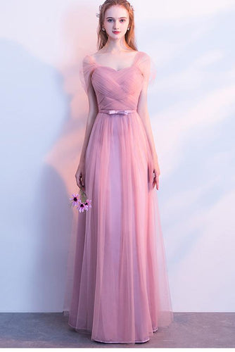 Elegant A-Line Pink Tulle Off the Shoulder Sweetheart Lace up Prom Bridesmaid Dresses RS572