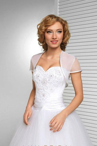 White Short Sleeve Wedding Bolero Bridal Cape Organza Wedding Wraps WW01