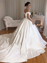 Load image into Gallery viewer, Simple Princess Ivory Ball Gown Sweetheart Satin Off the Shoulder Wedding Dresses RS193