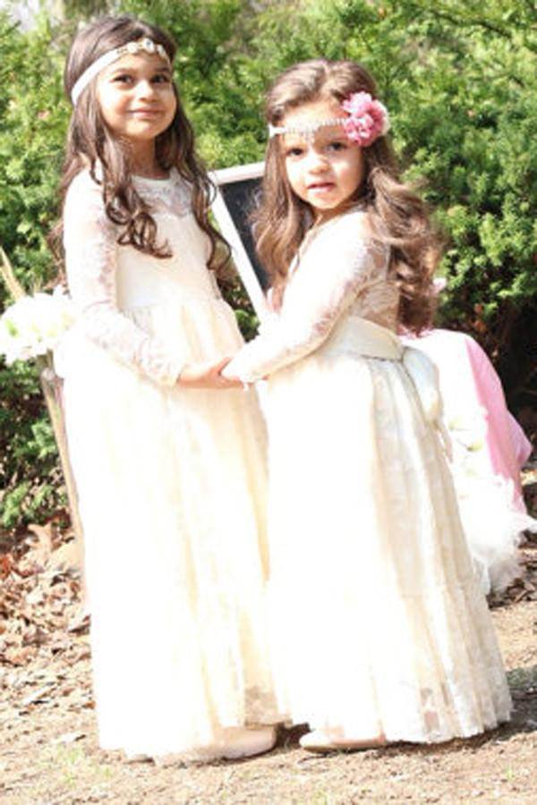 Scoop Ivory Lace Girl Dress Ivory Bowknot Baby Dress Long Sleeve Flower Girl Dress RS268