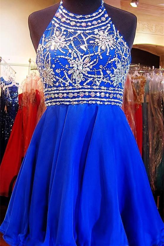 Royal Blue Sparkle Beautiful Chiffon Fashion Beading Sweet 16 Dress RSR67