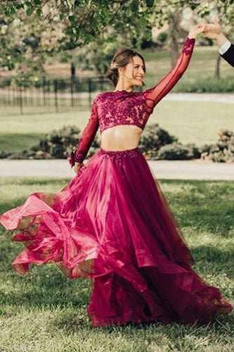 Elegant A Line Two Piece Burgundy Long Sleeve Beads Organza Open Back Long Prom Dresses RS24
