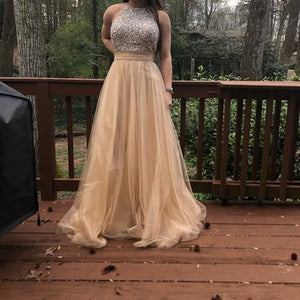 Long Custom High Neck Gray Sparkly Cocktail Evening Party Prom Dresses Online PD0170