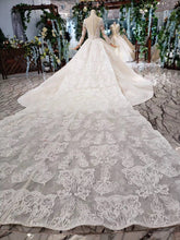 Load image into Gallery viewer, Princess Long Sleeve Beads Lace Appliques Ivory Prom Dresses Quinceanera Dresses P1070