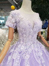 Load image into Gallery viewer, Unique Short Sleeve Lilac Ball Gown Appliques Beading Prom Dress Quinceanera Dress P1134