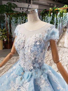 Princess Light Blue Ball Gown Cap Sleeve Prom Dresses with 3D Flowers Quinceanera Dress P1133