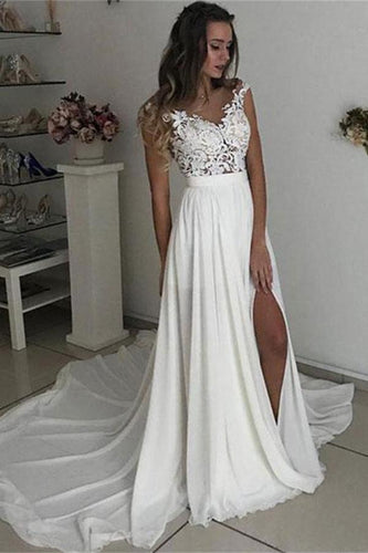 Formal Long Ivory Lace Chiffon Side Slit Cap Sleeve Cheap Beach Wedding Dresses RS107