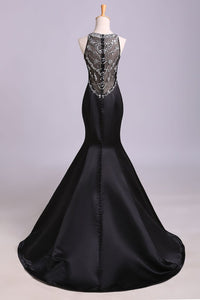 Sexy Black Mermaid Beads High Neck Satin Button Cheap Prom Dresses Party Dress RS173