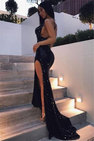Black Criss-cross Sexy Split Latest Shiny Floor-length Mermaid Sleeveless Prom Dresses RS299