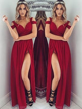 Load image into Gallery viewer, Red chiffon off-shoulder slit long dress summer prom dress