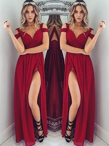Red chiffon off-shoulder slit long dress summer prom dress