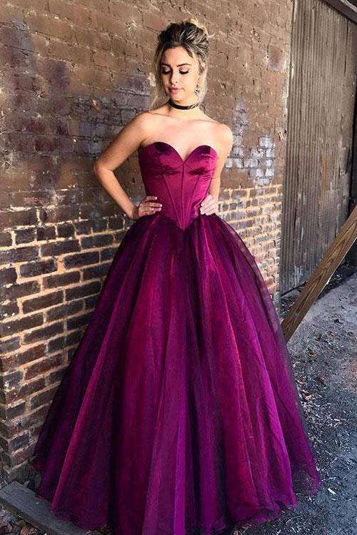 Stylish Sweetheart Strapless Purple Tulle Long A-Line Plus Size Prom Dresses RS728